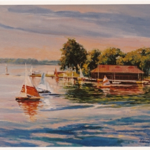 KENT LAKE BOAT STATION. 20×24″ Oil on canvas