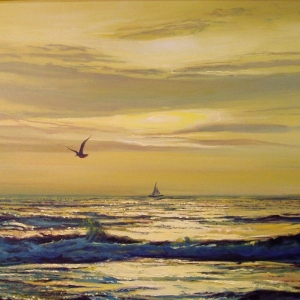 SUNSET.The Breakers Hotel, Florida 2005-2006 Seascape paintings 24″x36″